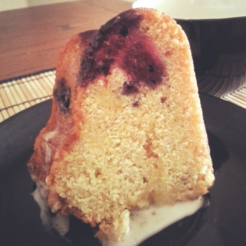 Honey Blackberry Cornmeal Bundt Cake