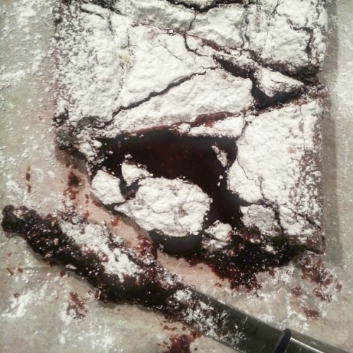 Swedish Chocolate Brownie Cake - Sliced