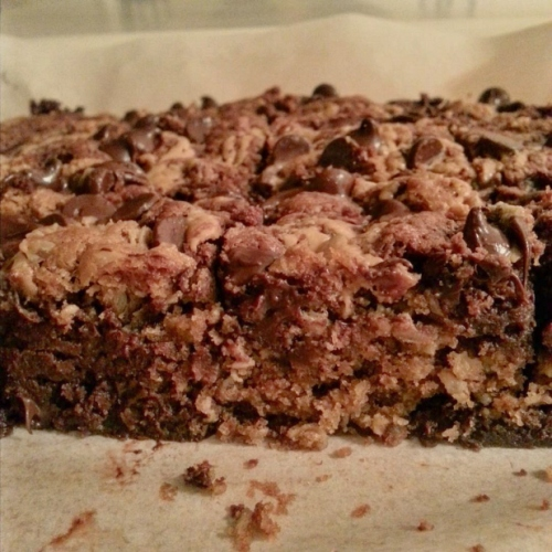 Oatmeal Chocolate Chip Cookie Peanut Butter Swirled Brownies